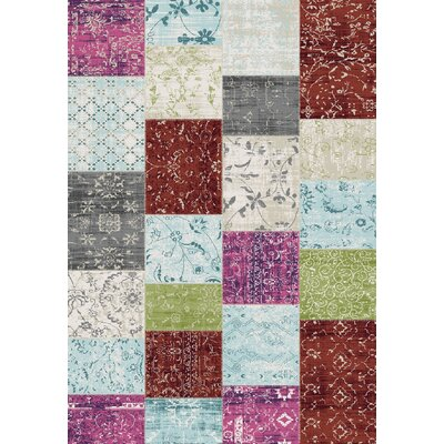 Machias Patchwork Floor Cloth White/Pink Area Rug Rug Size: 76 x 1010
