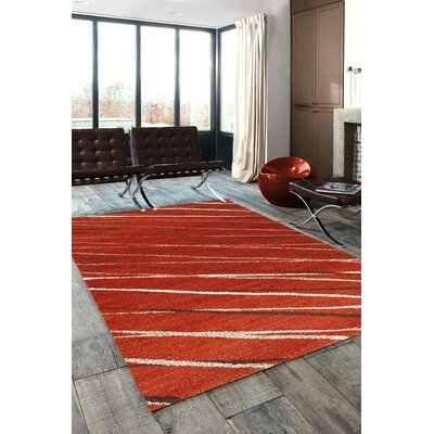 Mucklen Red Stripes Area Rug Rug Size: 710 x 1010