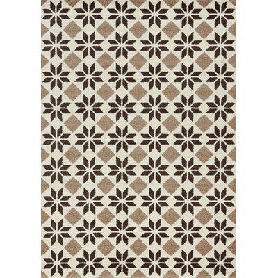 Lewisboro Geometric Flower Cream/Brown Area Rug Rug Size: 710 x 1010