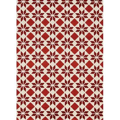 Lewisboro Geometric Flower Cream/Red Area Rug Rug Size: 53 x 77