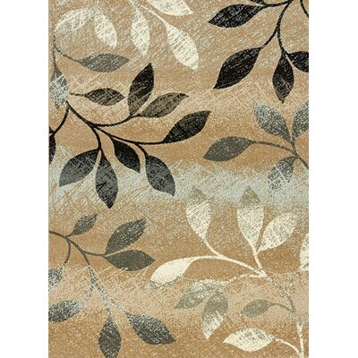 Monterrey Leaves Beige/Brown Area Rug Rug Size: 53 x 77