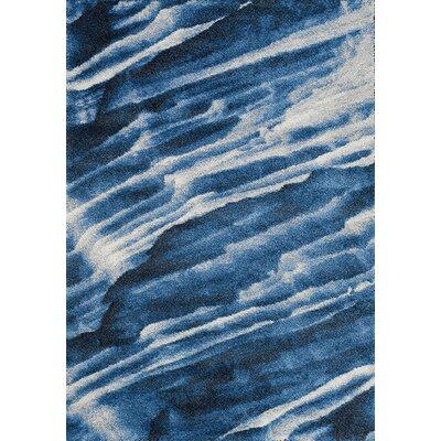 Aubuchon Blue/White Area Rug Rug Size: 53 x 77