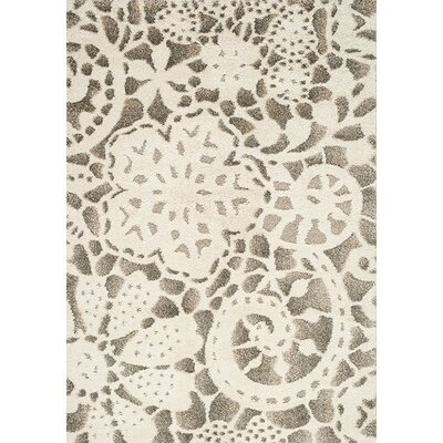 Besser Gray/Cream Area Rug Rug Size: 53 x 77