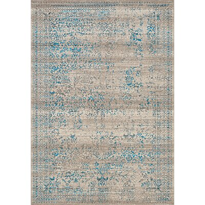 Billerica Gray/Blue Area Rug Rug Size: 53 x 77