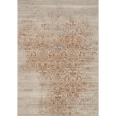 Billerica Gray/Orange Area Rug Rug Size: 53 x 77