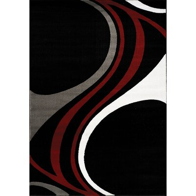 Ricky Black/White Area Rug Rug Size: 53 x 77