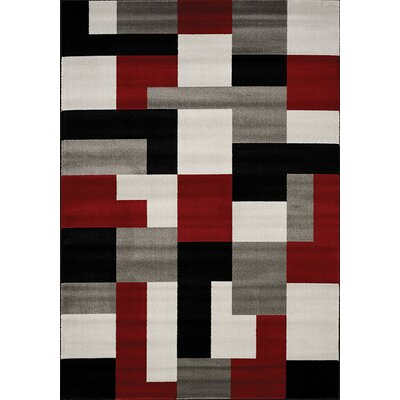 Absecon Red/Black Area Rug Rug Size: 53 x 77