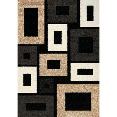 Teeple Black/Beige Area Rug Rug Size: 53 x 77