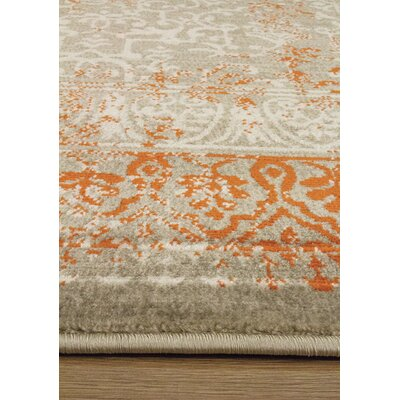 Bedonia Gray/Orange Area Rug Rug Size: 53 x 77