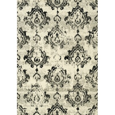 Ferrante Black/Cream Area Rug Rug Size: 53 x 77