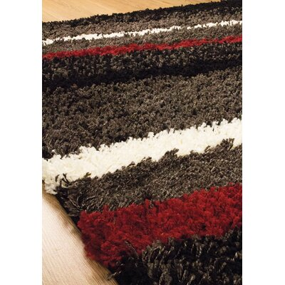 Retzlaff Striped Red/White Area Rug Rug Size: 53 x 77