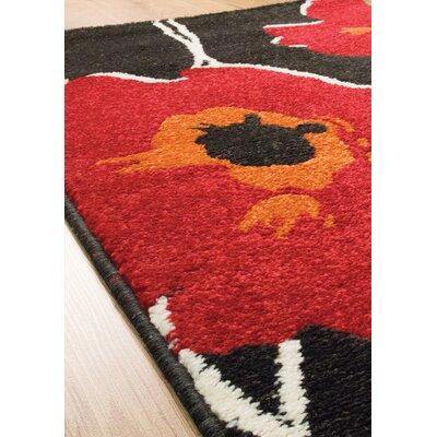 Lyme Black/Red Area Rug Rug Size: 53 x 77