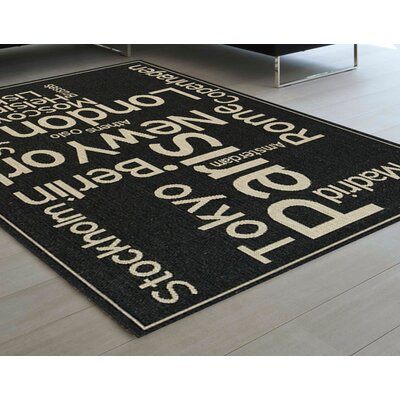 Channell Black/Cream Area Rug Rug Size: 53 x 77