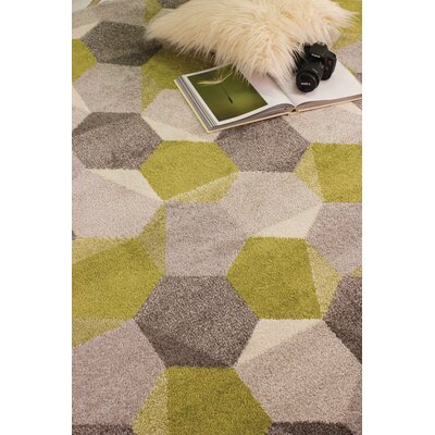Jeanie Gray/Green Area Rug Rug Size: 53 x 77