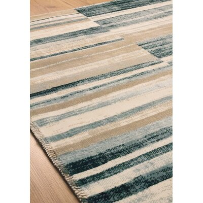 Machias Barcode Floor Cloth Beige/Blue Area Rug Rug Size: 76 x 1010