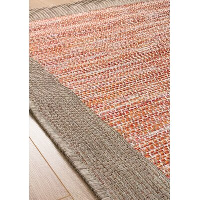 Moises Border Flatweave Red/Brown Indoor/Outdoor Area Rug Rug Size: 710 x 1010