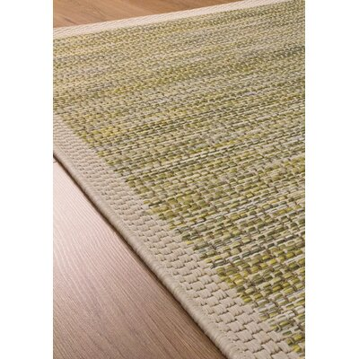 Moises Border Flatweave Green/Beige Indoor/Outdoor Area Rug Rug Size: 53 x 77