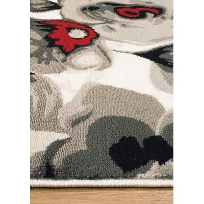 Louisa White/Gray Area Rug Rug Size: 710 x 106