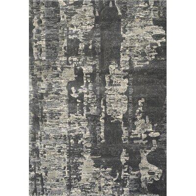 Cullerton Charcoal Distress Gray/Beige Area Rug Rug Size: 53 x 77