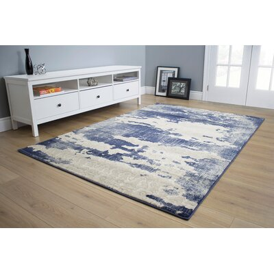Cullerton Distress Blue/Cream Area Rug Rug Size: 111 x 37