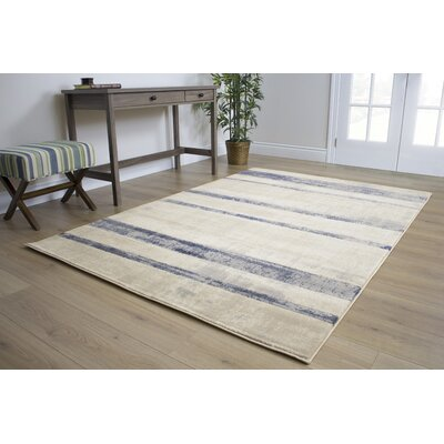 Bartholdi Faded Blue/Cream Stripes Area Rug Rug Size: 53 x 77