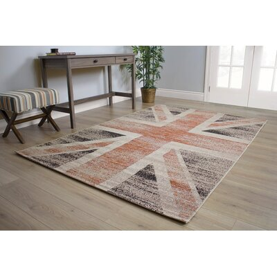 Bashaw Touch of Britian Cream/Red Area Rug Rug Size: 53 x 77