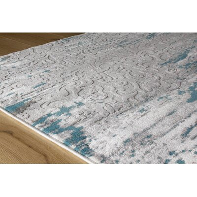 Aminata Distressed Pattern Blue/Gray Area Rug Rug Size: 710 x 106