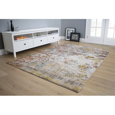 Giles Primary Distressed Gray/Yellow Area Rug Rug Size: 710 x 106