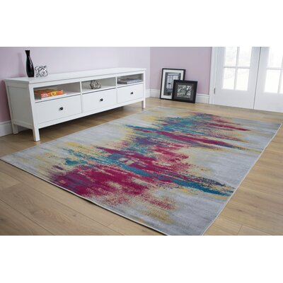 Basil Centred Resolution Gray/Red Area Rug Rug Size: 67 x 910
