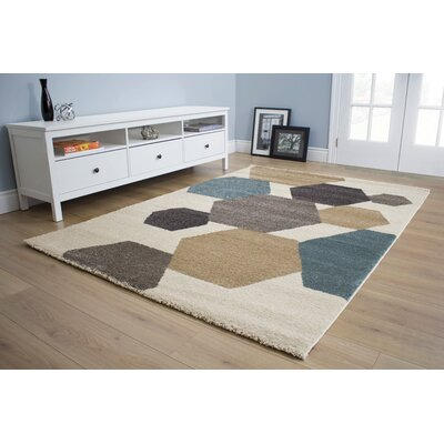 Evan Hexagon City Cream Area Rug Rug Size: 710 x 1010