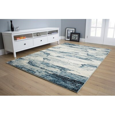 Esqueda Cracked Lines Blue Area Rug Rug Size: 53 x 77