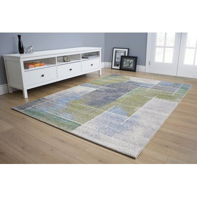 Mucklen Soft Sponge Watercolour Gray/Green Area Rug Rug Size: 111 x 37