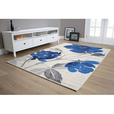 Mucklen Floral Blue/Cream Area Rug Rug Size: 53 x 77