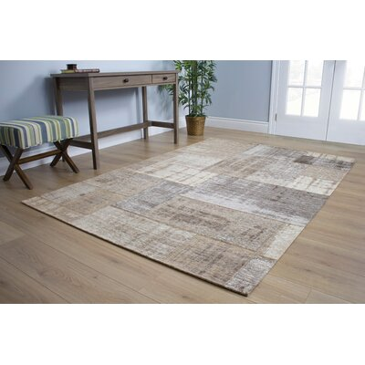 Emory Gray/Cream Distressed Patchwork Rug Rug Size: 51 x 77