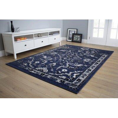 Bartron Dark Blue Area Rug Rug Size: 53 x 77
