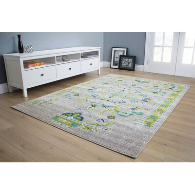 Corben Traditional Distressed Gray/Green Area Rug Rug Size: 53 x 77