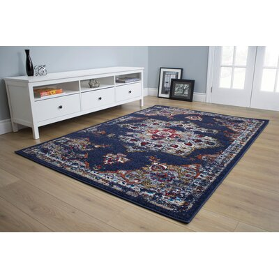 Alden Distressed Blue Area Rug Rug Size: 53 x 77
