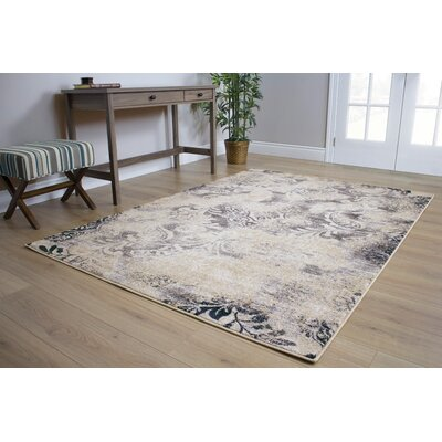Pompey Muted Vines Gray/Beige Area Rug Rug Size: 53 x 77