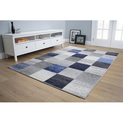 Benn Patchwork Gray/Blue Area Rug Rug Size: 53 x 77