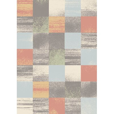 Benn Patchwork Gray/Salmon/Blue Area Rug Rug Size: 710 x 106