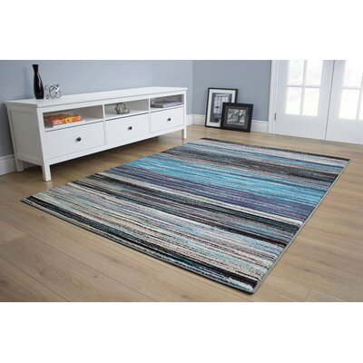 Benn Lines Blue Area Rug Rug Size: 710 x 106