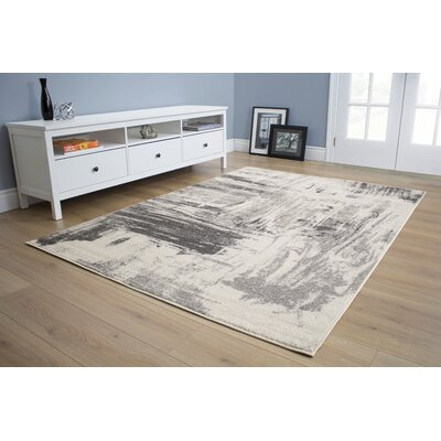 Daphne Brushstrokes Gray Area Rug Rug Size: 710 x 106