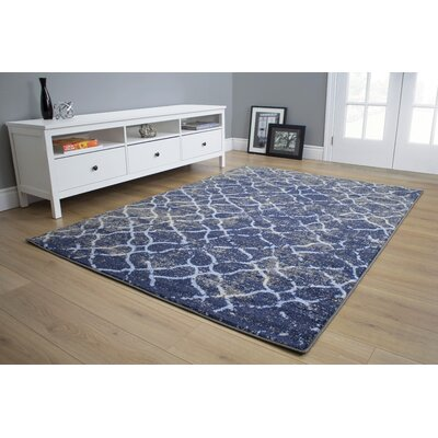 Batavia Ripples Blue/Cream Area Rug Rug Size: 53 x 77