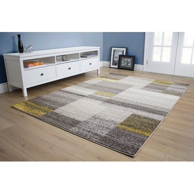 Eleanor Blocks Gray/Yellow Area Rug Rug Size: 710 x 106