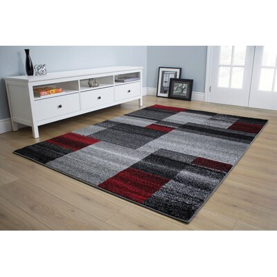 Eleanor Blocks Gray/Red Area Rug Rug Size: 53 x 77