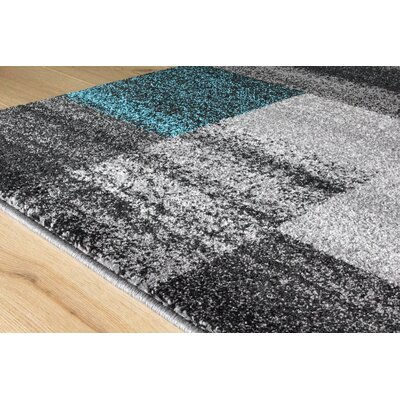 Eleanor Blocks Gray/Blue Area Rug Rug Size: 53 x 77