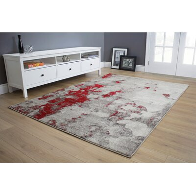 Atticus Abstract Expression Gray/Red Area Rug Rug Size: 53 x 77