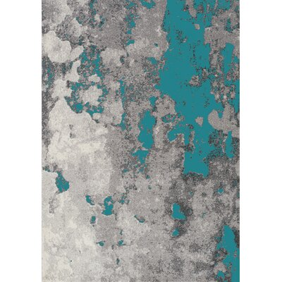 Atticus Abstract Expression Gray/Blue Area Rug Rug Size: 53 x 77