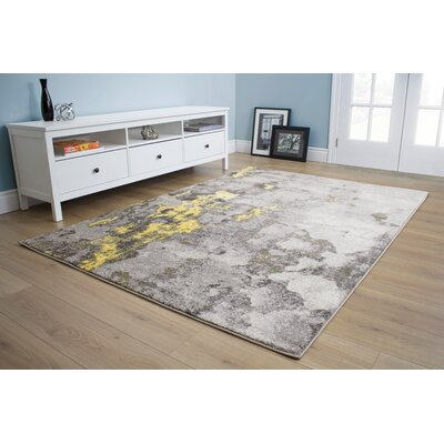 Atticus Abstract Expression Gray/Yellow Area Rug Rug Size: 53 x 77