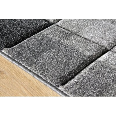 Elisabeth Blocks Gray Area Rug Rug Size: 710 x 106